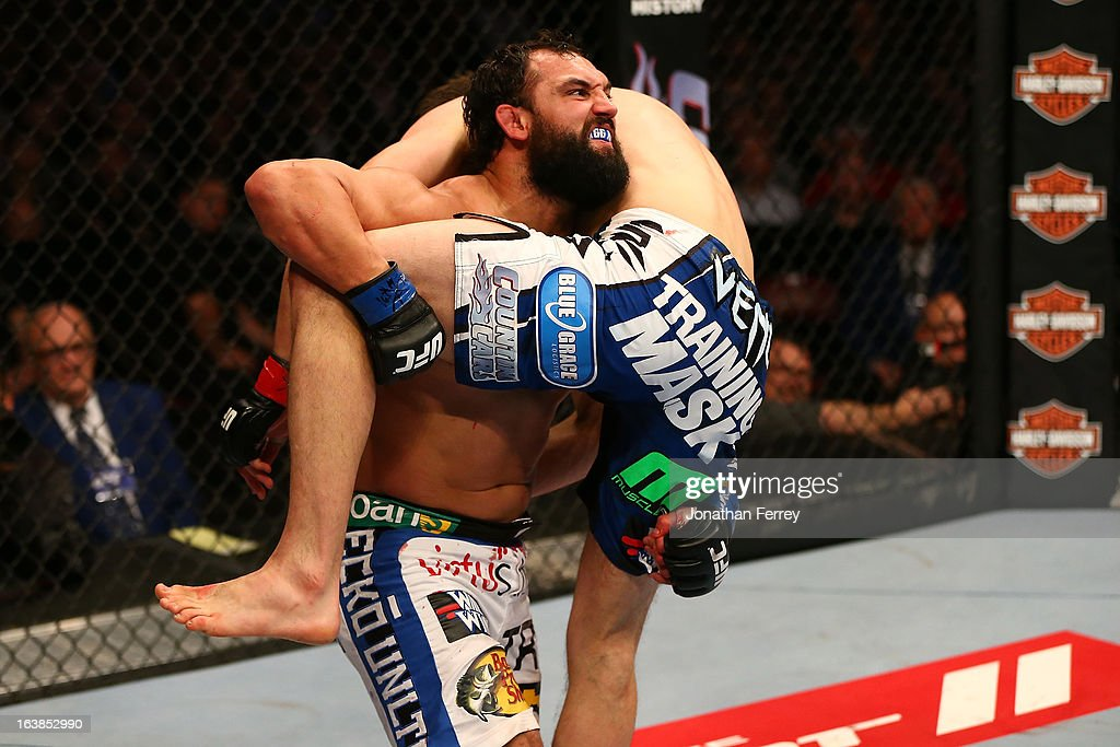 Johny Hendricks attempts to take down Carlos Condit in their welterweight bout during the UFC 158 event at Bell Centre on March 16, 2013 in Montreal, Quebec, Canada.