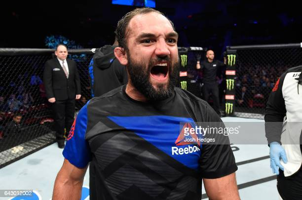 Johny Hendricks celebrates after defeating Hector Lombard of Cuba in their middleweight fight during the UFC Fight Night event inside the Scotiabank...