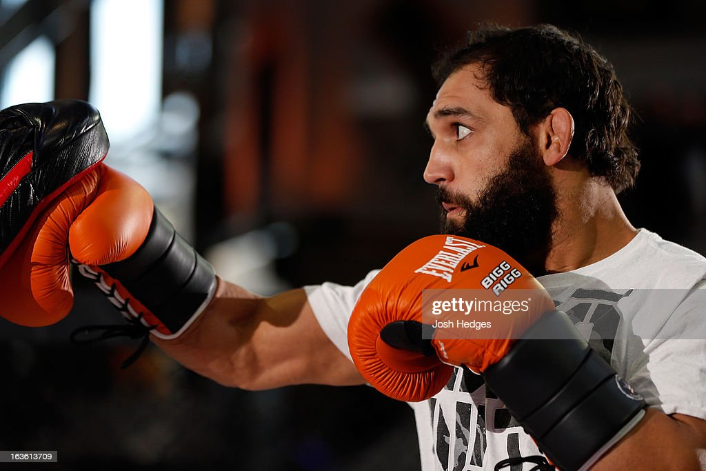 Johny Hendricks conducts an open training session for fans and media ahead of his UFC 158 bout at Complexe Desjardins on March 13, 2013 in Montreal, Quebec, Canada.