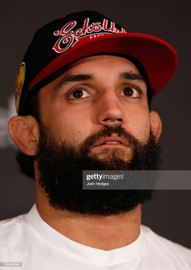 Johny Hendricks interacts with media during the final press conference ahead of his UFC 158 bout at Bell Centre on March 14, 2013 in Montreal, Quebec, Canada.