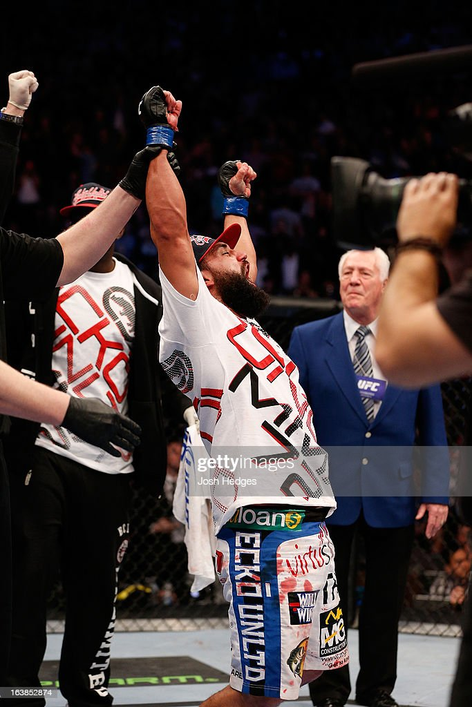 Johny Hendricks reacts after his victory over Carlos Condit in their welterweight bout during the UFC 158 event at Bell Centre on March 16, 2013 in Montreal, Quebec, Canada.