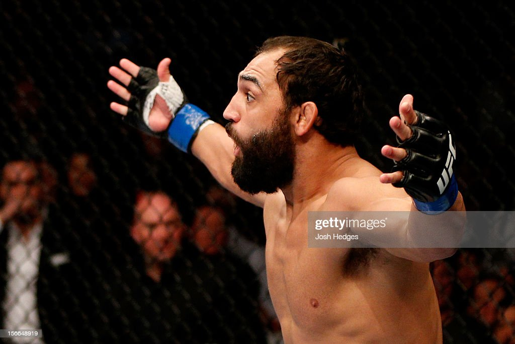Johny Hendricks reacts after knocking out Martin Kampmann in the first round to win their welterweight bout during UFC 154 on November 17, 2012 at the Bell Centre in Montreal, Canada.