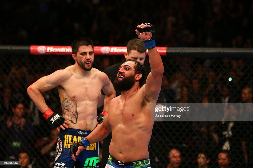 Johny Hendricks reacts after the conclusion of his welterweight bout against Carlos Condit during the UFC 158 event at Bell Centre on March 16, 2013 in Montreal, Quebec, Canada.