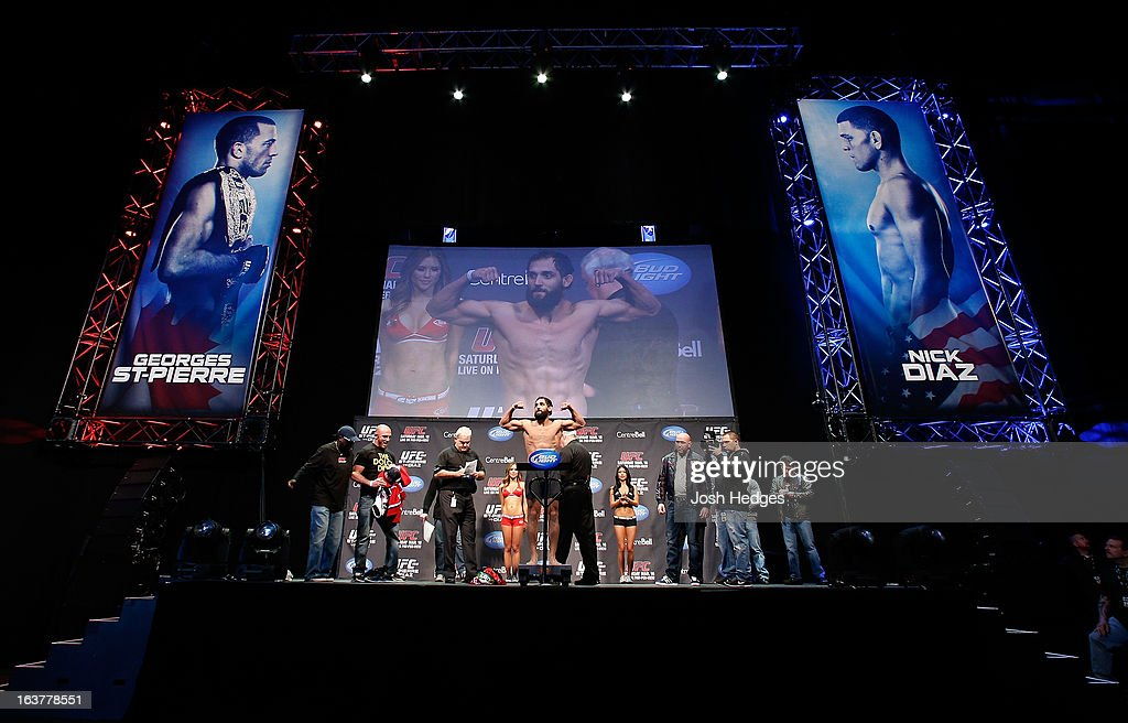 Johny Hendricks weighs in during the UFC 158 weigh-in at Bell Centre on March 15, 2013 in Montreal, Quebec, Canada.