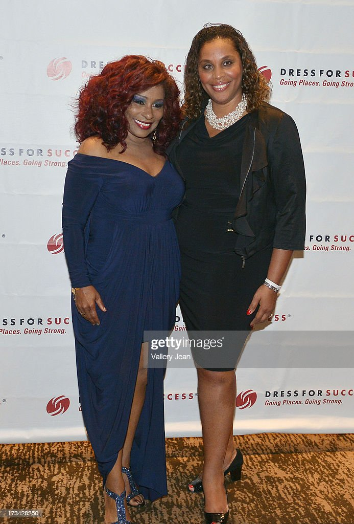 Joi Gordon and <a gi-track='captionPersonalityLinkClicked' href=/galleries/search?phrase=Chaka+Khan&family=editorial&specificpeople=208691 ng-click='$event.stopPropagation()'>Chaka Khan</a> attend The 9th Annual Success Summit hosted by Dress For Success Worldwide at Epic Hotel on July 13, 2013 in Miami, Florida.
