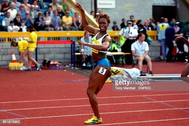 Joice Maduaka celebrates wining her heat in the 100 Metres