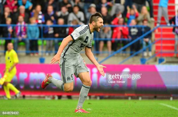 Joie Andre Pierre GIGNAC Caen / Marseille 9eme journee de Ligue 1 Photo Dave Winter / Icon Sport