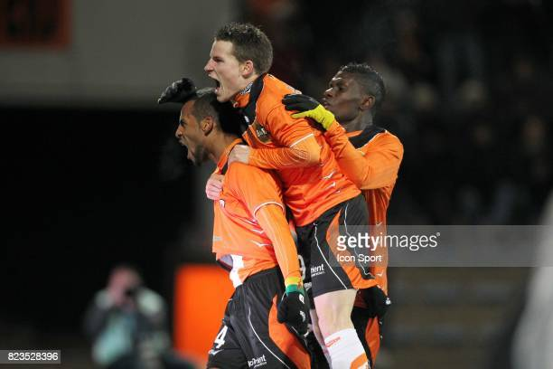 Joie but Jean Alayxis Romao Kevin Gameiro et Lynel Darcy Kitambala Lorient / Rennes 15eme journee de Ligue 1