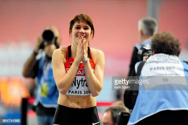 Joie de Carolin NYTRA 60m Haies Championnats d'Europe en salle BercyParis