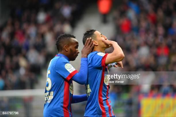 Joie Faycal FAJR / Lenny NANGIS Caen / CA Bastia 35eme journee de Ligue 2 Photo Dave Winter / Icon Sport