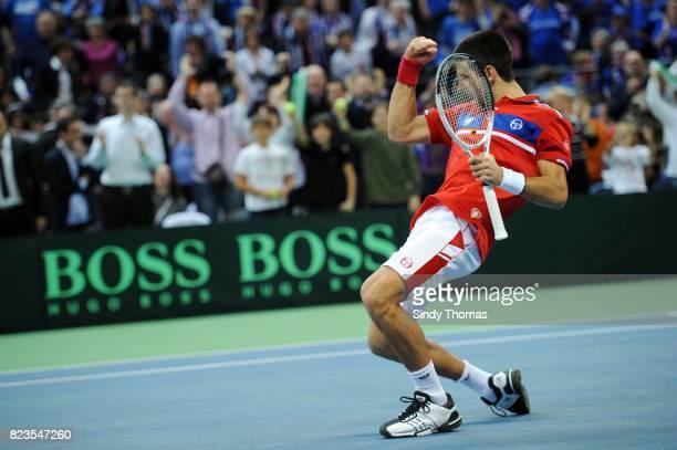 Joie Novak Djokovic 3e simple France / Serbie Finale Coupe Davis 2010 Belgrade Serbie