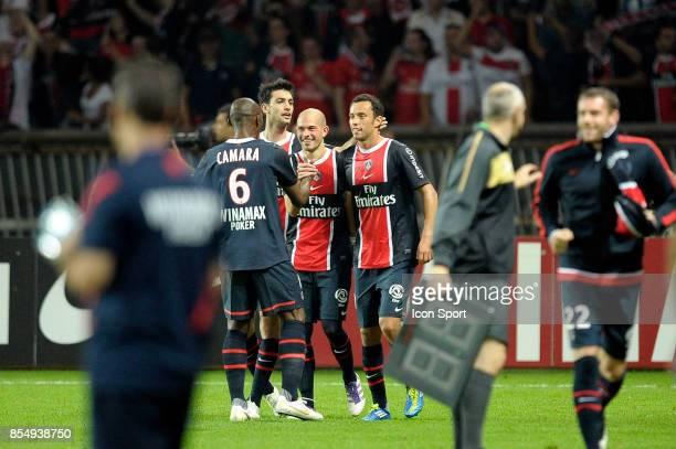 Joie PSG Javier PASTORE / Christophe JALLET / NENE Paris Saint Germain / Lyon 9e journee Ligue 1