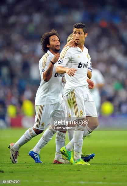 Joie Real Madrid MARCELO / Cristiano RONALDO / Fabio COENTRAO Real Madrid / Lyon Ligue des Champions Groupe D 3e journee Photo Dave Winter / Icon...