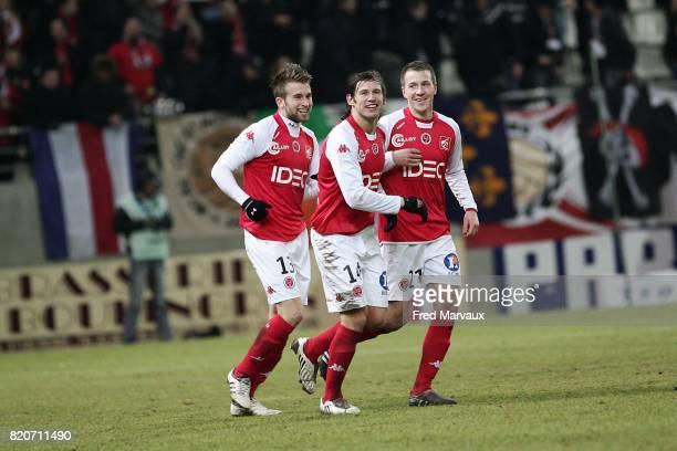 Joie Reims Lucas DEAUX / Gregory KRYCHOWIAK / Clement TAINMONT Reims / Amiens 25e journee National Stade Auguste Delaune