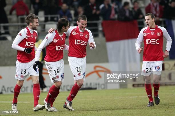 Joie Reims Lucas DEAUX / Gregory KRYCHOWIAK / Mathieu FONTAINE / Clement TAINMONT Reims / Amiens 25e journee National Stade Auguste Delaune