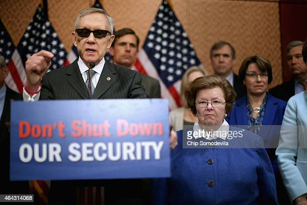Joined by fellow Senate Democrats Minority Leader Harry Reid accuses Republican Senate leaders of manufacturing the possible shutdown of the...