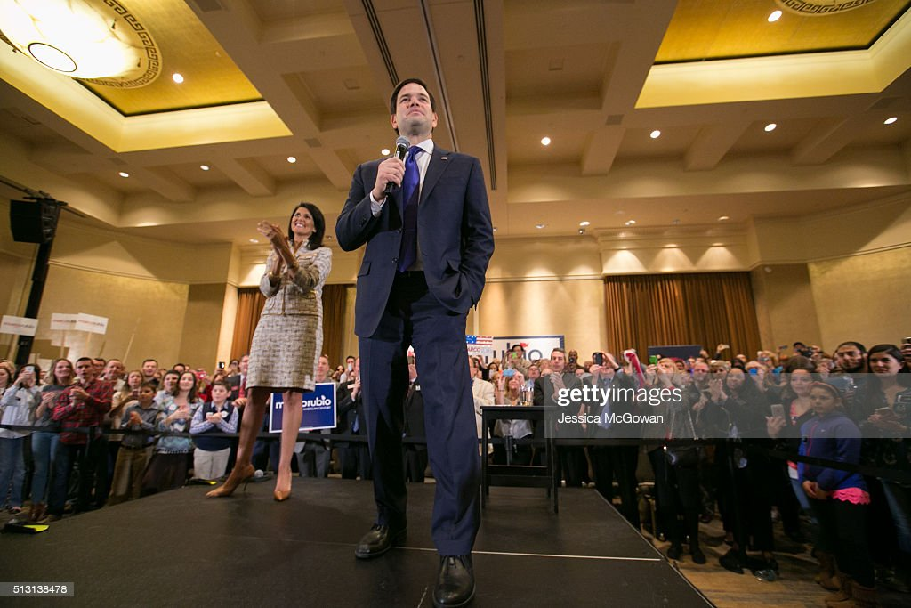 Joined on the stage with South Carolina governor Nikki Haley Republican presidential candidate Marco Rubio addresses supporters during a campaign...