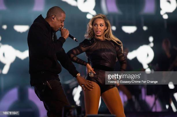 JAYZ joins Beyonce on stage for 'Crazy In Love' at the 'Chime For Change The Sound Of Change Live' Concert at Twickenham Stadium on June 1 2013 in...