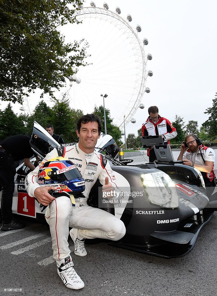 Joint 2015 FIA World Endurance Champion Mark Webber poses as Le Mans comes to London - 919 Hybrid, Mark Webber and new Panamera E-Hybrid brings Porsche race-winning technology alive on the city streets, on September 27, 2016 in London, England. This morning, the two most advanced Porsche cars built so far, the 919 Hybrid LMP1 and the all-new Panamera made history; the world's fastest petrol:electric Hybrid race car took to the London streets alongside the new Panamera 4 E-Hybrid to demonstrate how Porsche is translating its Le Mans-winning Hybrid technology from the track to the road.