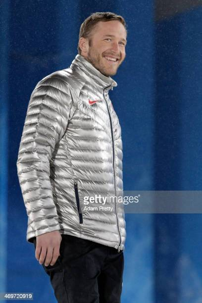 Joint bronze medalist Bode Miller of the United States celebrates on the podium during the medal ceremony for the Men's SuperG Alpine Skiing on day 9...