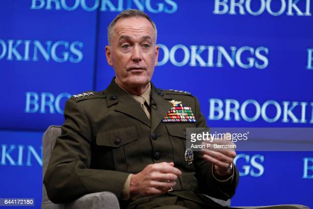 Joint Chiefs of Staff Chairman Gen Joseph Dunford speaks at the Brookings Institution February 22 2017 in Washington DC Dunford discussed challenges...