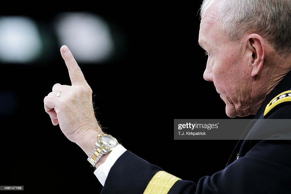 Joint Chiefs of Staff Chairman General <a gi-track='captionPersonalityLinkClicked' href=/galleries/search?phrase=Martin+Dempsey&family=editorial&specificpeople=2116621 ng-click='$event.stopPropagation()'>Martin Dempsey</a> speaks to the press about the ongoing bombing campaign against militants in Iraq and Syria during a news conference at the Pentagon on September 26, 2014 in Arlington, Virginia. The president authorized the air support as part of a coalition with both western nations and some nations in the middle east.