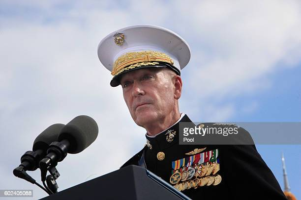Joint Chiefs of Staff Gen Joseph F Dunford Jr speaks during a ceremony to mark the 15th anniversary of the 9/11 terrorists attacks at the Pentagon...