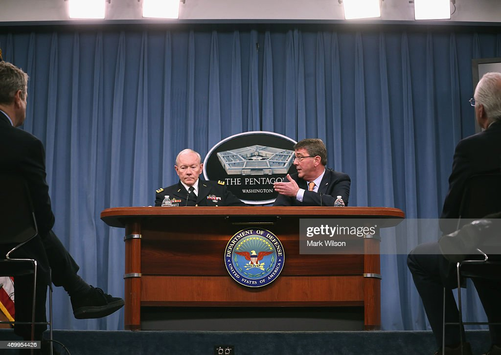 Joint Chiefs of Staff <a gi-track='captionPersonalityLinkClicked' href=/galleries/search?phrase=Martin+Dempsey&family=editorial&specificpeople=2116621 ng-click='$event.stopPropagation()'>Martin Dempsey</a> (2nd L) U.S, Secretary of Defense Ash Carter (2nd R) and speak to the media during a briefing at the Pentagon April 16, 2015 in Arlington, Virginia. Secretary Carter talked about the situation in the middle-east including Iraq, Iran and Russia.