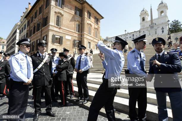Joint patrol services with Chinese and Italian police officers in Rome in Piazza di Spagna on June 5 2017 in Rome Italy Following the joint activity...