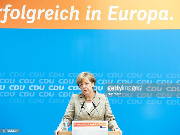 Joint press conference after the European election with CDU Chairman and German Chancellor Angela Merkel and the top candidate of the CDU at the...