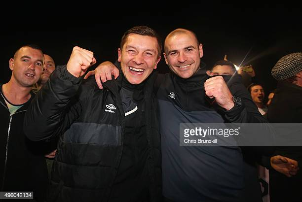 Joint Salford City managers Anthony Johnson and Bernard Morley celebrate victory after the Emirates FA Cup first round match between Salford City and...