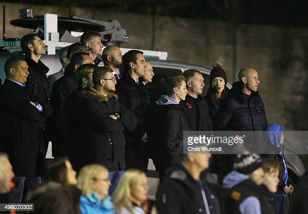 Joint Salford City owners Gary Neville Paul Scholes and Nicky Butt look on from the terraces during the Emirates FA Cup first round match between...