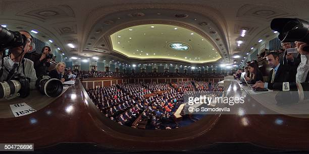 A joint session of Congress is assembled for US President Barack Obama's final State of the Union speech in the House chamber of the US Capitol...