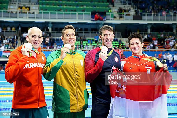 Joint silver medalists Michael Phelps of United States Chad Guy Bertrand le Clos of South Africa Laszlo Cseh of Hungary and gold medalist Joseph...