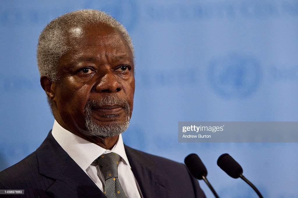 Joint Special Envoy for Syria and former United Nations (UN) Secretary General <a gi-track='captionPersonalityLinkClicked' href=/galleries/search?phrase=Kofi+Annan&family=editorial&specificpeople=169832 ng-click='$event.stopPropagation()'>Kofi Annan</a> speaks during a news conference after the UN Security Council held consultations regarding the UN Supervision Mission in Syria on June 7, 2012 at United Nations Headquarters in New York City. Earlier today, UN monitors were shot at in Syria when they attempted to visit the scene of a reported massacre in Hama province.