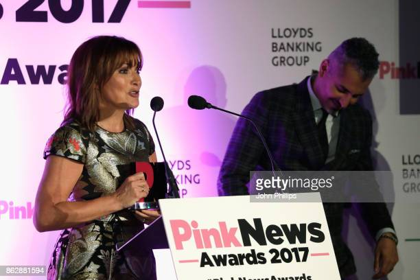 Joint winners of the Broadcaster of the Year award Lorraine Kelly and Maajid Nawaz speak on stage during the Pink News Awards 2017 held at One Great...