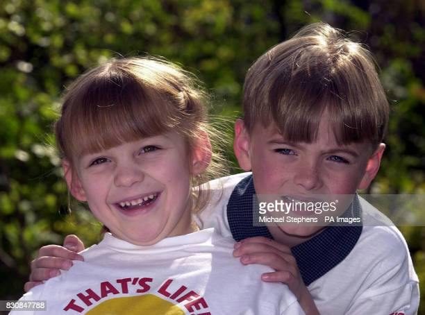 Joint winners of the That's Life Magazine Smile of the Year award 2002 Lauren Cook from Hayle Cornwall and Jack Durham from NewcastleunderLyme...