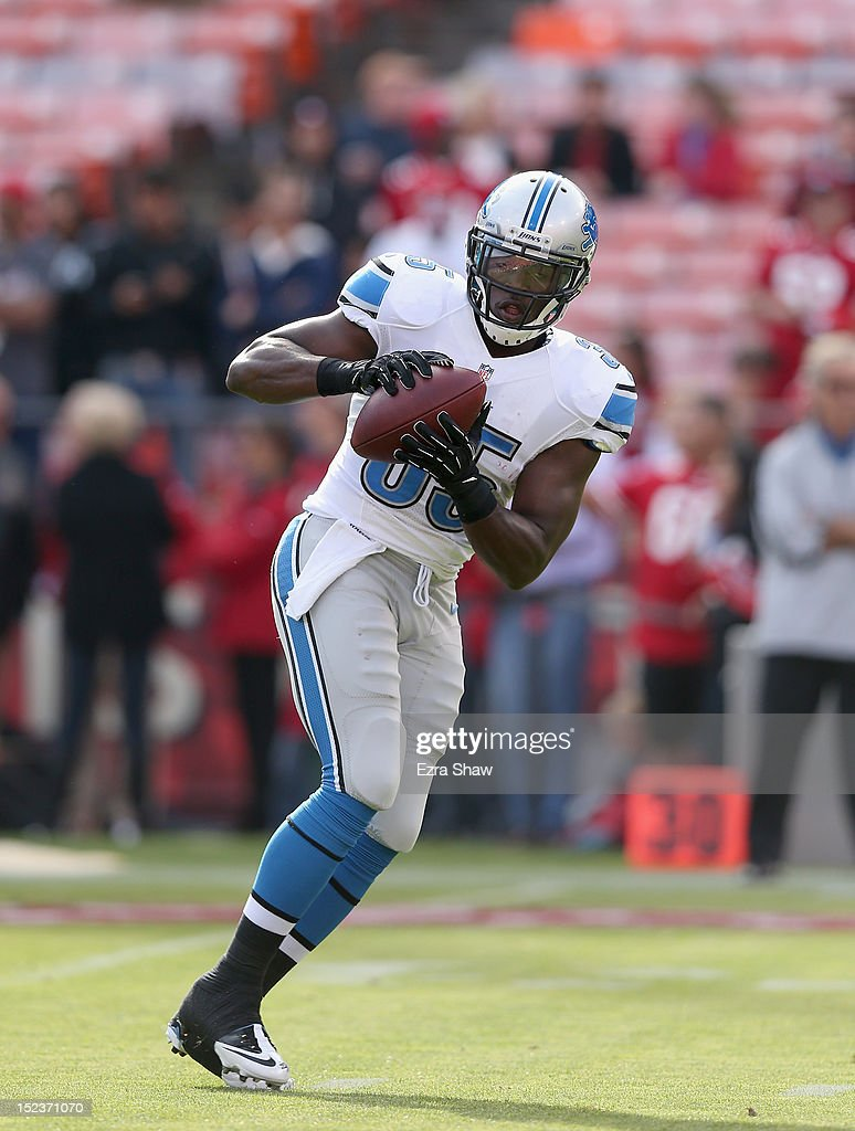 <a gi-track='captionPersonalityLinkClicked' href=/galleries/search?phrase=Joique+Bell&family=editorial&specificpeople=6780199 ng-click='$event.stopPropagation()'>Joique Bell</a> #35 of the Detroit Lions warms up before their game against the San Francisco 49ers at Candlestick Park on September 16, 2012 in San Francisco, California.