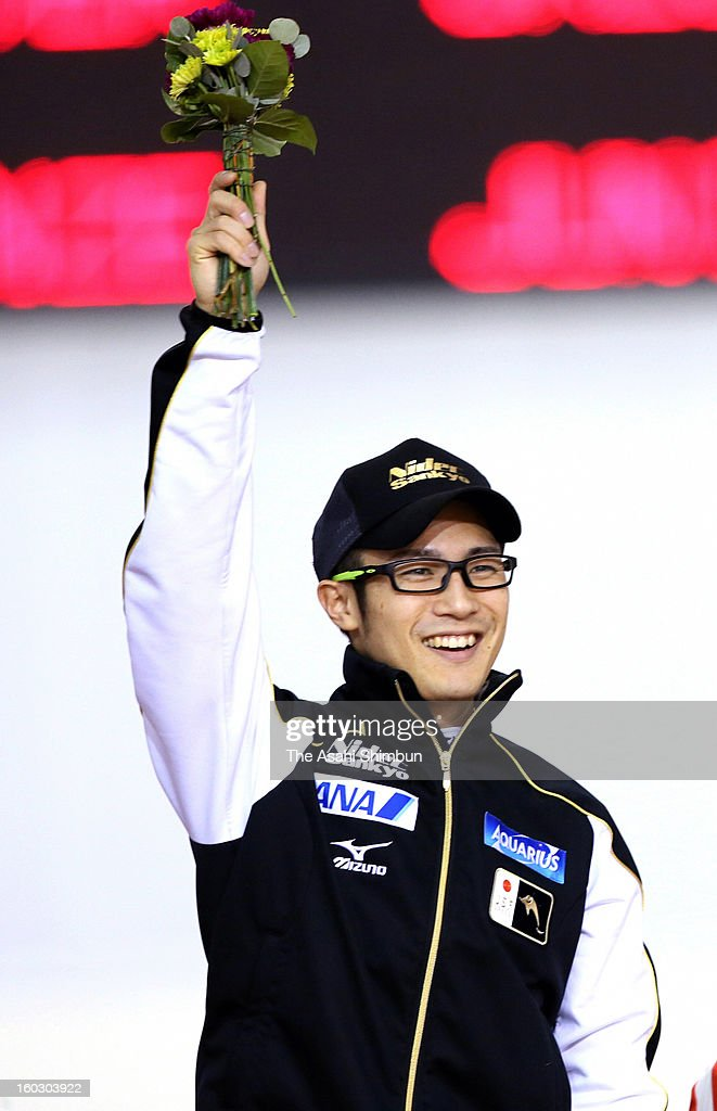 <a gi-track='captionPersonalityLinkClicked' href=/galleries/search?phrase=Joji+Kato&family=editorial&specificpeople=818932 ng-click='$event.stopPropagation()'>Joji Kato</a> of Japan celebrates winning in the Men's 500m during day two of the ISU World Sprint Championships at the Utah Olympic Oval on January 27, 2013 in Salt Lake City, Utah.