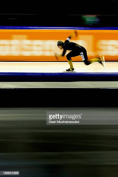 Joji Kato of Japan competes and wins the Division A 500m race on the final day of the Essent ISU World Cup Speed Skating at Thialf Ice Stadium on...