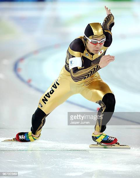 Joji Kato of Japan competes in the men's 500 m speed skating held at the Richmond Olympic Oval on day 4 of the Vancouver 2010 Winter Olympics at...