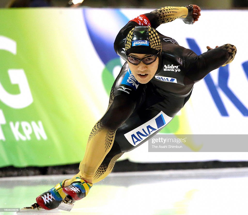 <a gi-track='captionPersonalityLinkClicked' href=/galleries/search?phrase=Joji+Kato&family=editorial&specificpeople=818932 ng-click='$event.stopPropagation()'>Joji Kato</a> of Japan competes in the Men's 500m during day two of the ISU World Sprint Championships at the Utah Olympic Oval on January 27, 2013 in Salt Lake City, Utah.