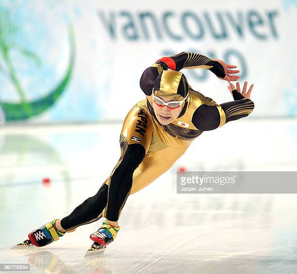 Joji Kato of Japan competes in the men's speed skating 500 m final on day 4 of the Vancouver 2010 Winter Olympics at Richmond Olympic Oval on...