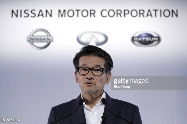 Joji Tagawa corporate vice president of Nissan Motor Co speaks during a news conference at the company's global headquarters in Yokohama Japan on...