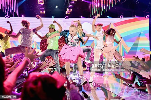 JoJo Siwa performs onstage during 2016 Nickelodeon HALO Awards at Basketball City Pier 36 South Street on November 11 2016 in New York City
