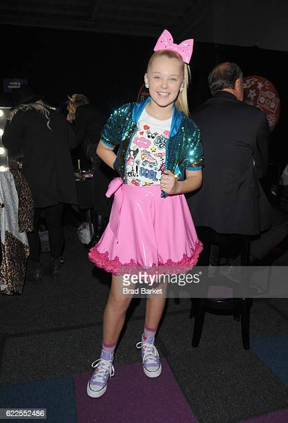 JoJo Siwa poses backstage during the 2016 Nickelodeon HALO awards at Basketball City Pier 36 South Street on November 11 2016 in New York City