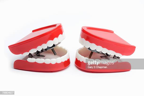 Joke teeth on white background