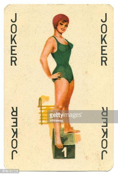 Joker black lettering Romikartya 4 vintage playing card Hungary 1950s