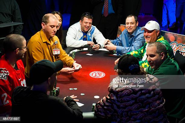 Jokes abound as dealer Jessie Hintz deals a hand of Texas Hold 'em at Maryland Live Casino Monday March 24 2014 in Hanover MD Poker Night in America...