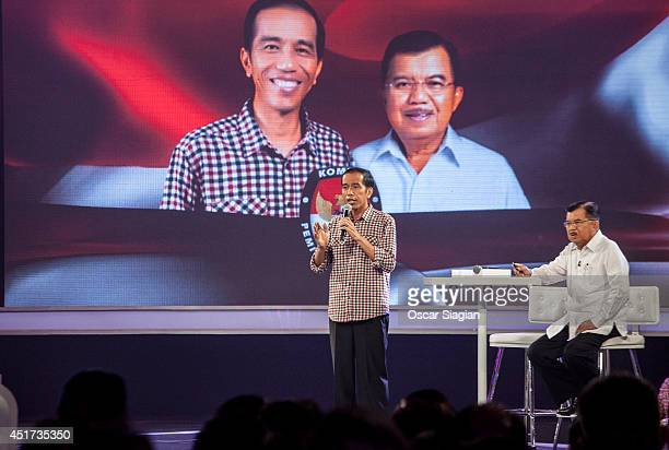 Joko Widodo answers questions during Presidential final debate on July 5 2014 in Jakarta Indonesia Today marks the last day of campaigning ahead of...